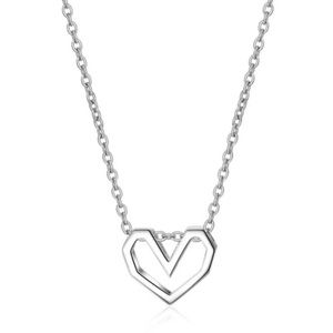 Origami heart 925 sterling silver necklace